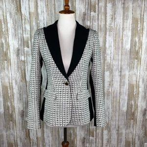 Ivanka Trump Black & White One Button Blazer Sz 2